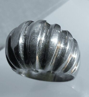 Size 7  Sterling silver 925 fluted melon  ring 8.4g   ip
