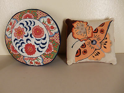 LOT OF 2 NEDDLEPOINT ROUND SQUARE PILLOWS FLOWER BUTTERFLY