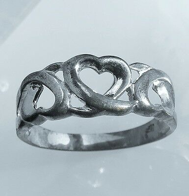 Size 8.5 old  silver tone ornate heart   ring 1.7g  iv