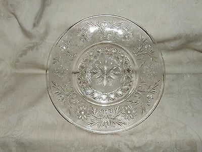 "Anchor Hocking SANDWICH Pattern 8"" Salad Plate Clear 1940s-60s FINE"