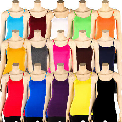 Spaghetti Strap Cotton Camisole Long Tank Top Basic Plain Tunic Layer Cami S M L
