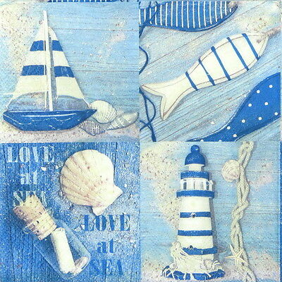 4x Paper Napkins for Decoupage Decopatch Craft - Love at Sea