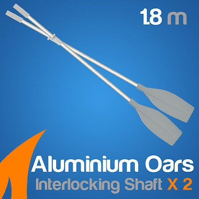 2 Piece Premium 1.8m White Aluminium Oars(Two piece interlocking shaft)