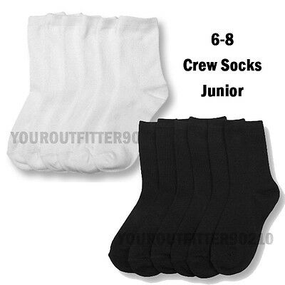 12 Pairs Kid's 6-8 Soft Crew Uniform School Socks Boys Girls Junior Black White