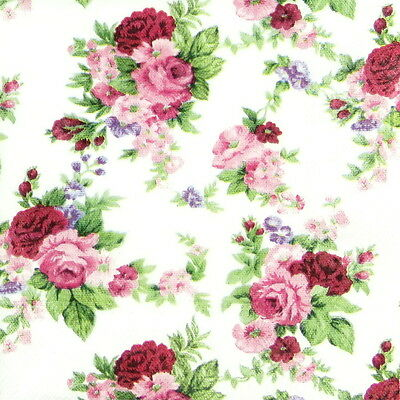 4x Single Table Party Paper Napkins for Decoupage Craft Vintage Antoinette Roses