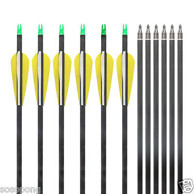 "12 x Carbon Arrows 31"" Black Shafts White/Yellow Fletches Removable Arrow Heads"