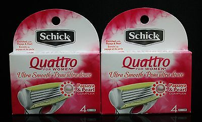 SCHICK Quattro Refill For Women Papaya & Pearl Ultra Smooth 8ct NEW IN BOX