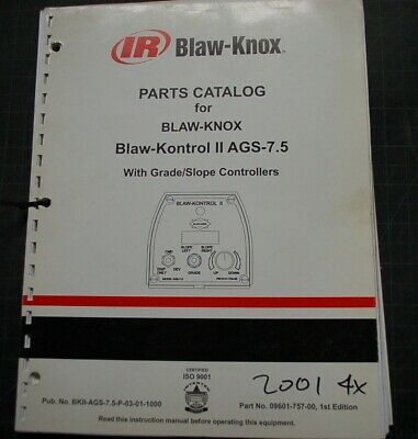 IR Ingersoll Rand Blaw Knox AGS-7.5 GRADE SLope Controller Parts Manual book