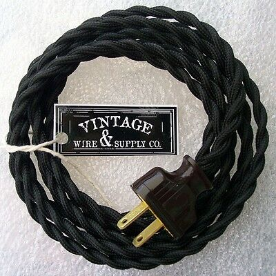 Black Cordset - 8ft -Cloth Covered Twisted Wire Vintage Rewire Kit - Antique Fan