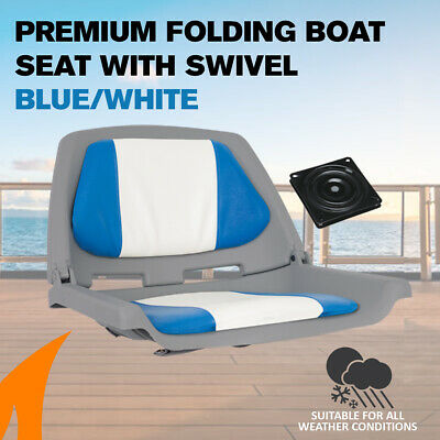 Premium Folding Boat Seat Marine All Weather Blue/White With Swivel