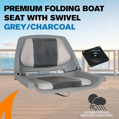 Premium Folding Boat Seat Marine All Weather Grey/Charcoal With Swivel