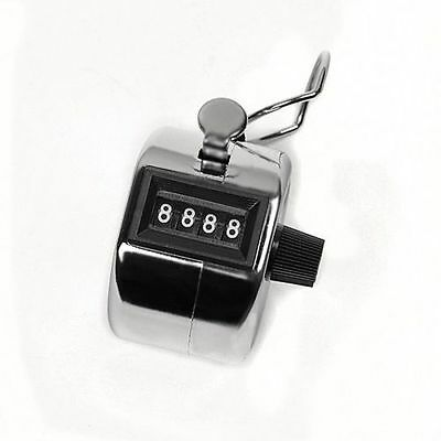 Silver stainless metal 4 Digit Number Clicker Golf Hand Tally Click Counter JK