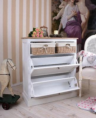 Armoire Etagere A Chaussures En Bois Blanc Hetre Commode Style Shabby Chic