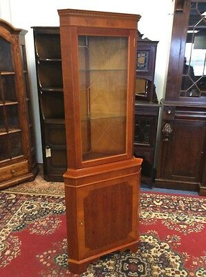 Reproduction Yew Wood Corner Display Cabinet