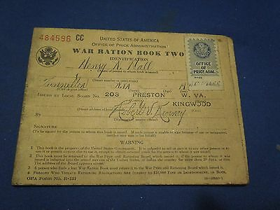 Vintage 1940s World War II WWII War Ration Book Two US Military Henry N. Nall