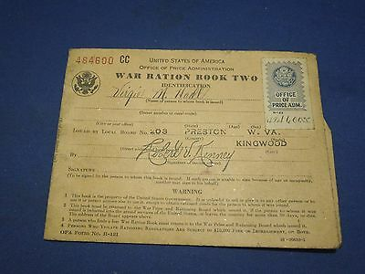 Vintage 1940s World War II WWII War Ration Book Two US Military Virgie M. Nall