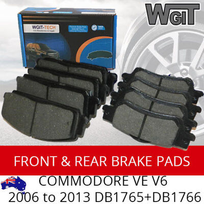 Front Rear & Disc Brake Pads FOR COMMODORE VE  V6 2006 to 2013 DB1765+DB1766