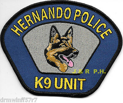"Hernando  K-9 Unit, MS  (4.5"" x 3.5"" size)  shoulder police patch (fire)"