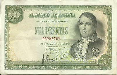 Spain 1000 Pesetas 1949 Pick # 138 Vf 3Rf 31Ene