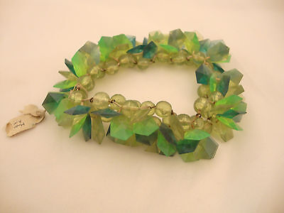 Shades of Green Faceted Vintage Plastic Beads Made in Austria - Emerald Peridot