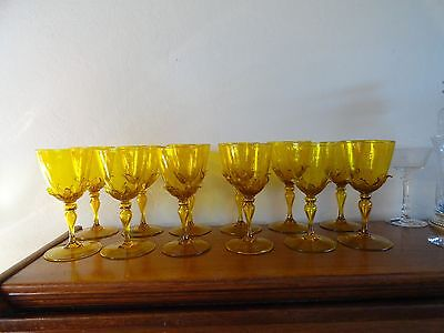 Amazing Venetian Or Steuben Glass Yellow Goblet With Applied Leaves