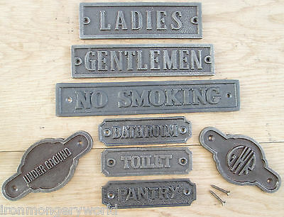 Cast Iron Wall Door Signs Notice Plate Plaque-Wc-Kitchen-Toilets-Women-Mens
