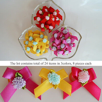 *24 PCS* Ribbon Flower Puppy Hair Bow Dog Grooming Pet Accessory 3 Colors Set #1