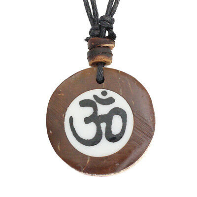 Coconut Wood Om Ohm Symbol Charm Pendant Choker Necklace with Black Cord