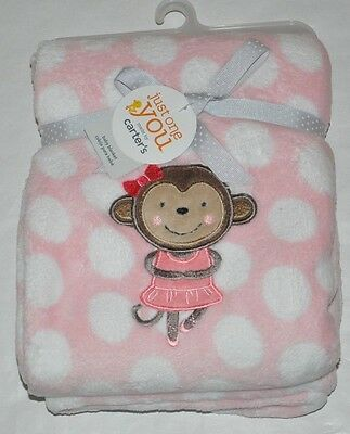 NEW Carter's Just One You Baby Girl's Pink Blanket with Ballerina Monkey