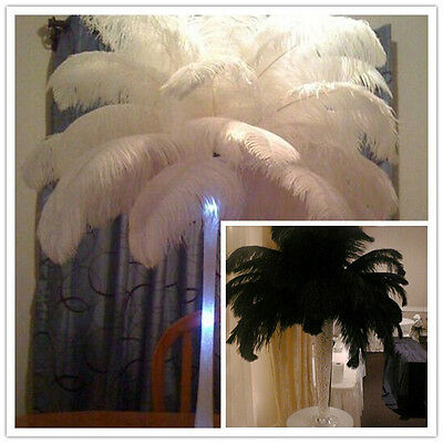 Beautiful! 10/50/100pcs white/black natural ostrich feathers 16-18inch /40-45cm