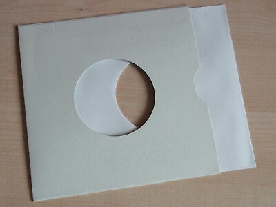 """10 of 7"""" vinyl record white paper sleeves 90 gsm with 10 7"""" card sleeves"""