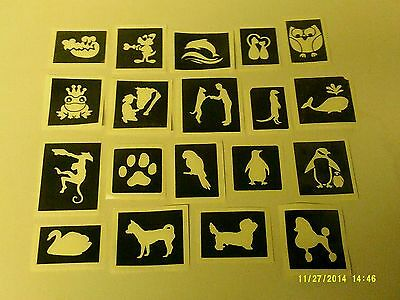 10 - 400 cute & funny animals stencils (mixed) for etching on glass