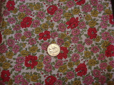 "Antique Cotton Fabric GOLD,SHADES OF PINK, OLIVE GREEN FLORAL 1 Yd/34"" Wide"