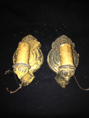 "1940's 7 1/4"" Pr Light Fixture Sconces"