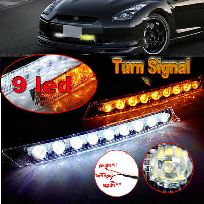 2x 9 LED Audi Style Daytime Running Light Day Fog Lamp DRL Amber Turn Signal 12V