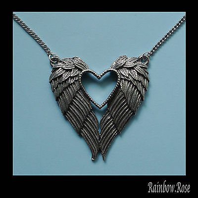 Pewter Necklace on Chain #431 ANGEL FEATHER WINGS & HEART 43mm SILVER TONE