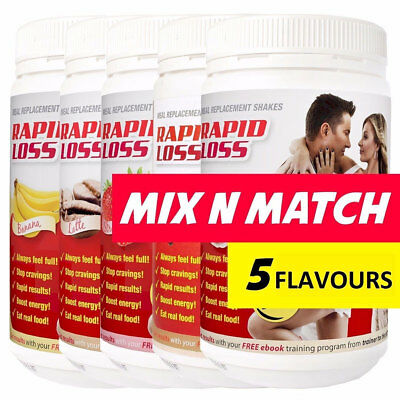 Best Price! 3 X Rapid Loss Shakes 750G = 2.5Kg Free Shaker Choose Flavours Mix