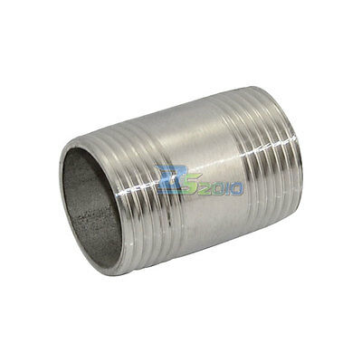 """1"""" Male x 1"""" Male Threaded Pipe Fitting Stainless Steel SS304 BSP NEW INTER"""
