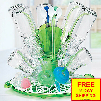 Stylish Drying Rack Holds Up To 12 Bottles & Accessories Spins For Easy Access