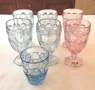 7 Assorted Fostoria Moonstone Blue & PINK Glasses. Think Spring & Easter