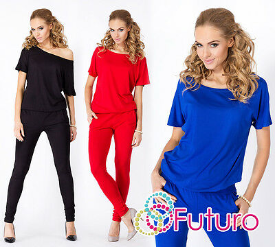 Ladies Sexy Jumpsuit Boat Neck Short Sleeve Skinny Leg Playsuit Sizes 8-18 FM07