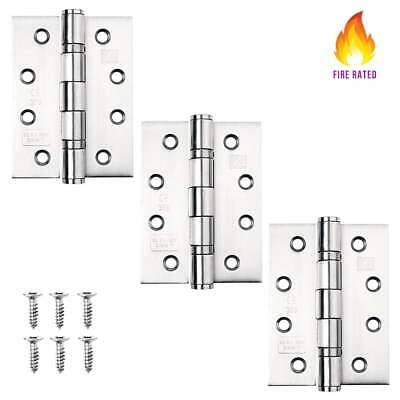 3 PACK DOOR HINGES Fire Rated Ball Bearing External Hinge CE11 CHROME BRASS 4x3""