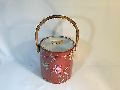 Vintage Plastic Ice Bucket with Floral Design Bamboo Handles Hawaii Style