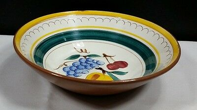 Stangl China Fruit Pattern Round Vegetable Bowl Brown Trim