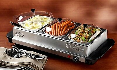 Triple Station Cooker & Food Buffet Serving Warmer Storage Warm Stainless Steel