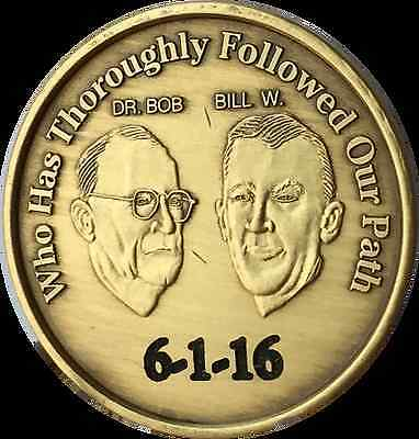 Engraved Sobriety Date AA Founders Medallion Bill Bob Chip Alcoholics Anonymous