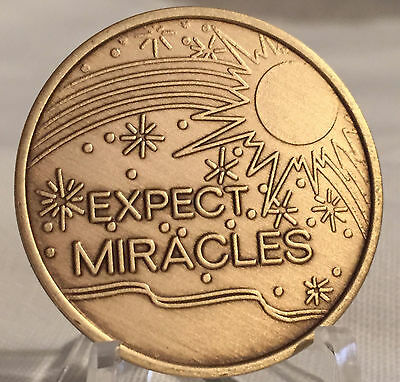 Expect Miracles Medallion Coin Chip Bronze Recovery AA NA Alcoholics Anonymous