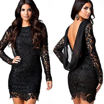 New Women's Sexy Club Party Cocktail Evening Backless Lace Black Mini Dress A82