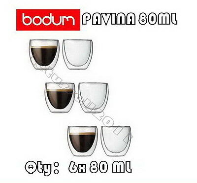 IN BOX BODUM PAVINA DOUBLE WALL CLEAR THERMO-GLASSES ESPRESSO CUPS x6 80ML