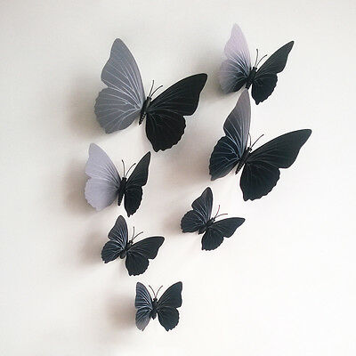 Black New 3D Butterfly Art Decal Wall Stickers Decor Room Decorations 12pcs